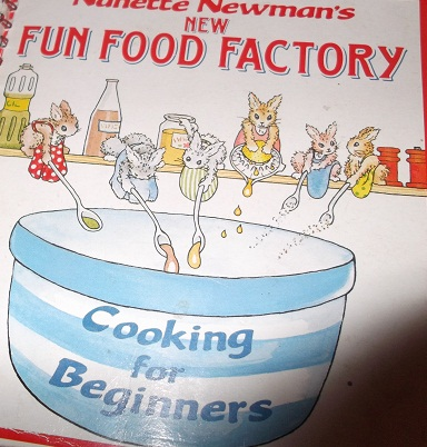 Becksie's first cookery book - a gift from Uncle Keith and Aunty Janet (of flapjack fame)