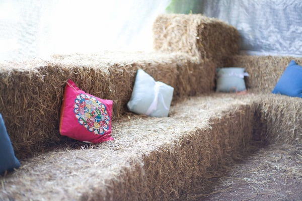 Hay bail sofa - made by Uncle Keith and Aunty Janet - true wedding super stars!
