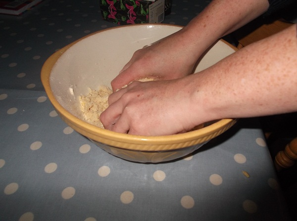 Add plain flour and butter and crumble until you have something that resembles bread crumbs