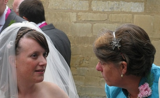 Little Mummy and Becksie at our wedding. If your wondering what they were discussing..... Little Mummy was asking Becksie if the wedding was everything she ever wanted? this photo captures Becksie considering the question before answer yes :)