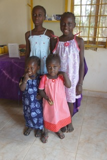 Some of the girls in The Gambia who received our dress a girl dresses