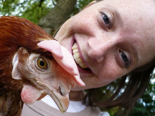 Becksie with one of our original battery hens