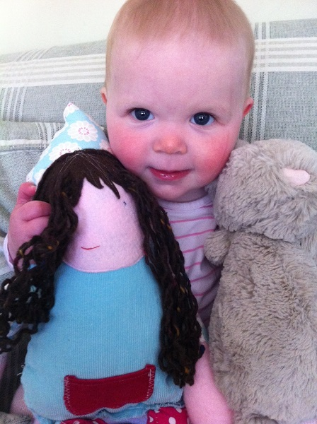 Morning Lizzie complete with bed face :) and a few friends big 'babbrit' and dolly (made by Becksie)
