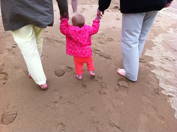 A stroll on the beach with Grannie and Grandpa Pugh