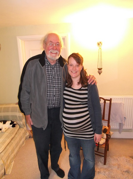 Becksie and Grandpa Pugh (aka Poppa) 1 week to go!