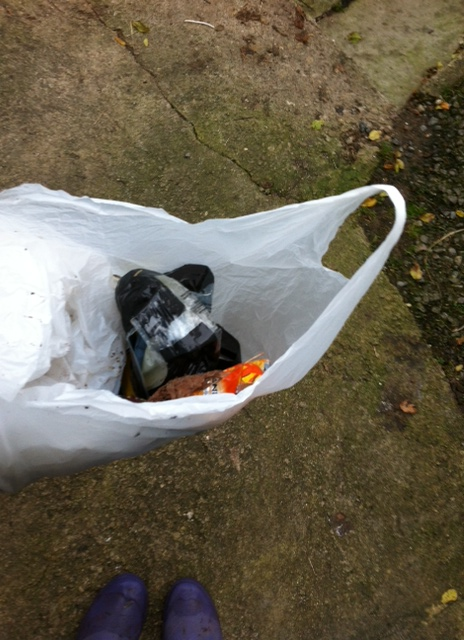 Our bag of litter - it makes us very sad that people think its ok to drop it :(