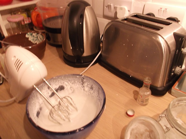 The kitchen chaos - note icing on toaster and kettle!