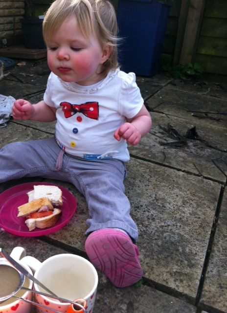 Saturday lunch outside as to quote Lizzie 'lovely sunny day - Diddy stay outside'